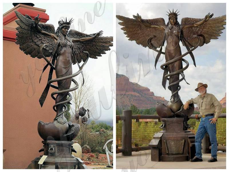 large bronze Caduceus angel statue