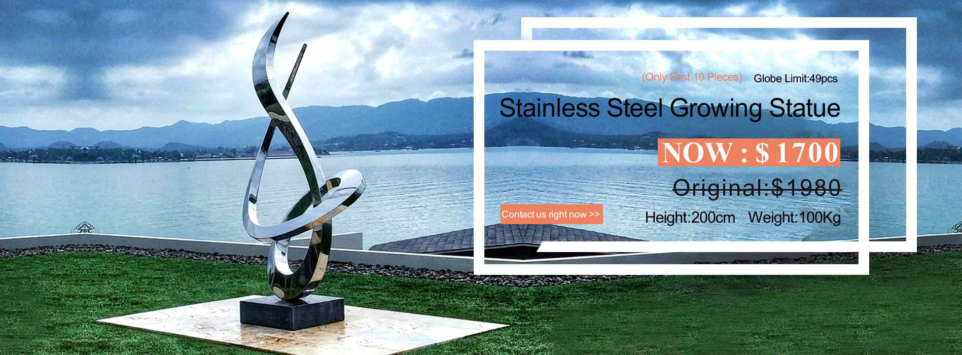 large modern stainless steel sculpture for sale