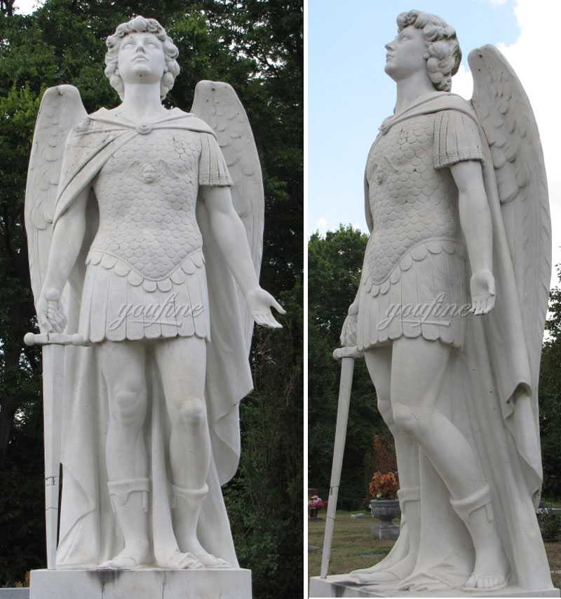 life size catholic religious statue st michael the archangel outdoor marble statue replica for sale