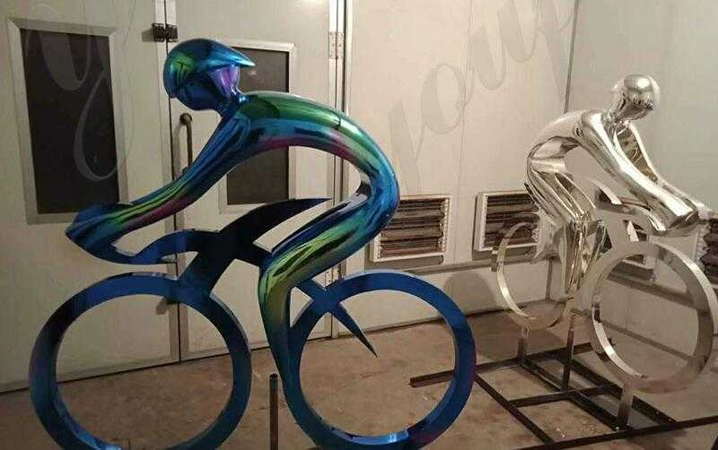 modern metal bicycle sculpture art for garden decor for sale