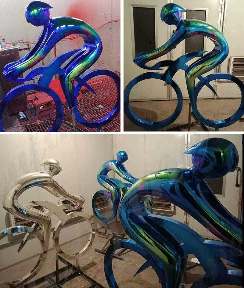 modern metal bicycle sculpture art on stock for sale