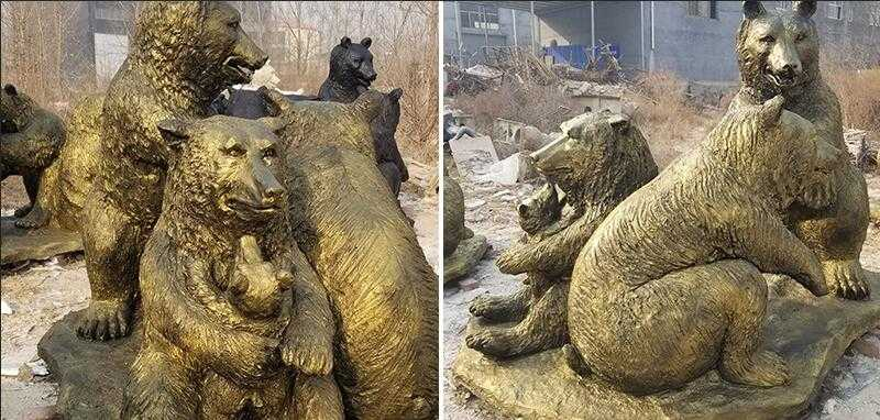 outdoor bronze life size grizzly bear statue for sale