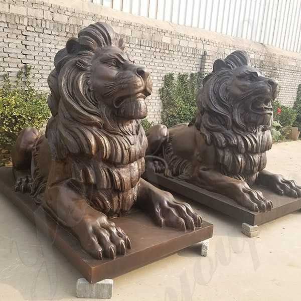 paired antique bronze lion statue for sale