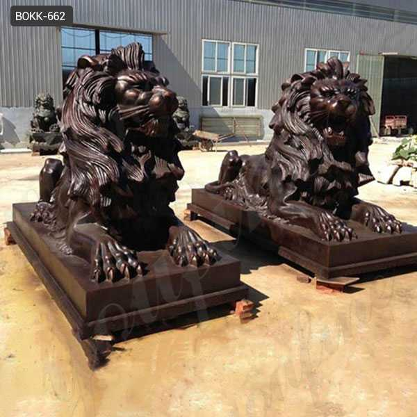 BOKK-662 Large Antique Bronze Lion Statue For Sale Lion Statues for Front Porch