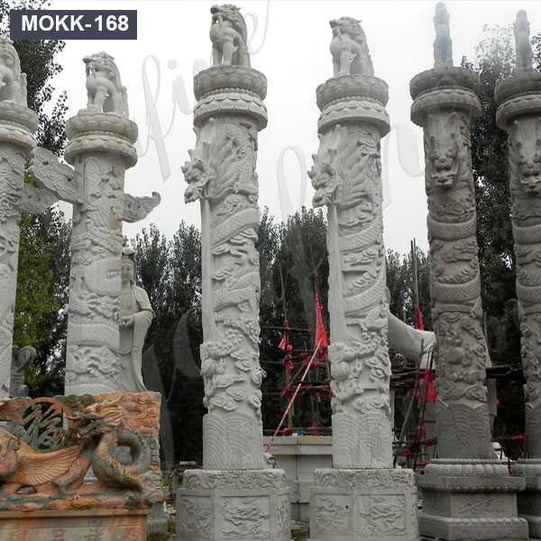 Hand Carved Natural Marble Round Pillar Designs For Temples Buildings MOKK-168