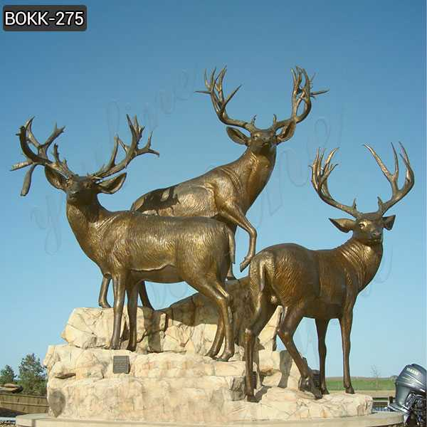 Antique bronze animal sculpture bronze stag statue garden design for sale