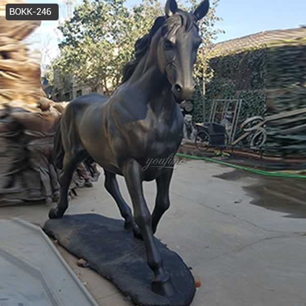 Life size bronze standing horse art hot cast black vintage bronze garden horse