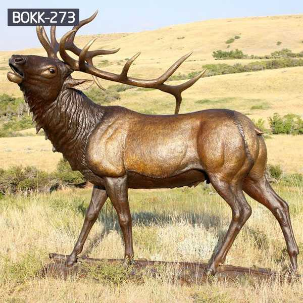 BOKK-273 Outdoor Bronze Elk Statue Garden Brass Deer Sculpture for Sale