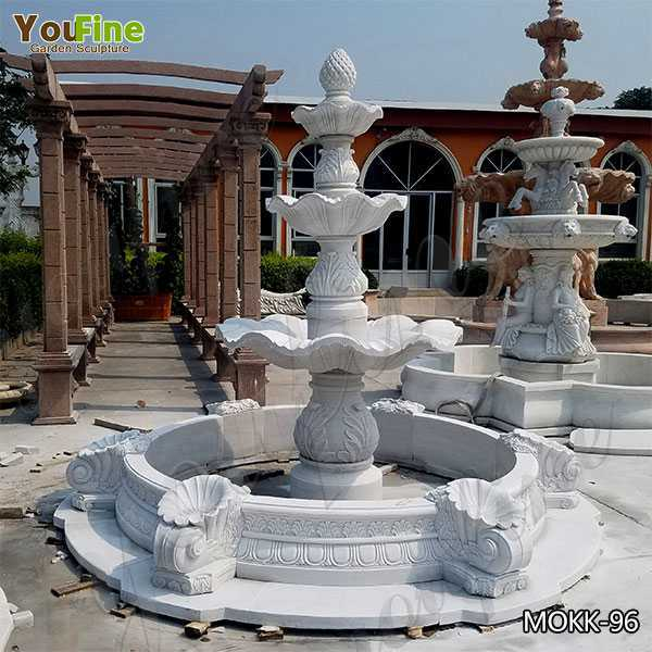 Beautiful Pure White 3 Tiered Outdoor Marble Fountain for Sale MOKK-96