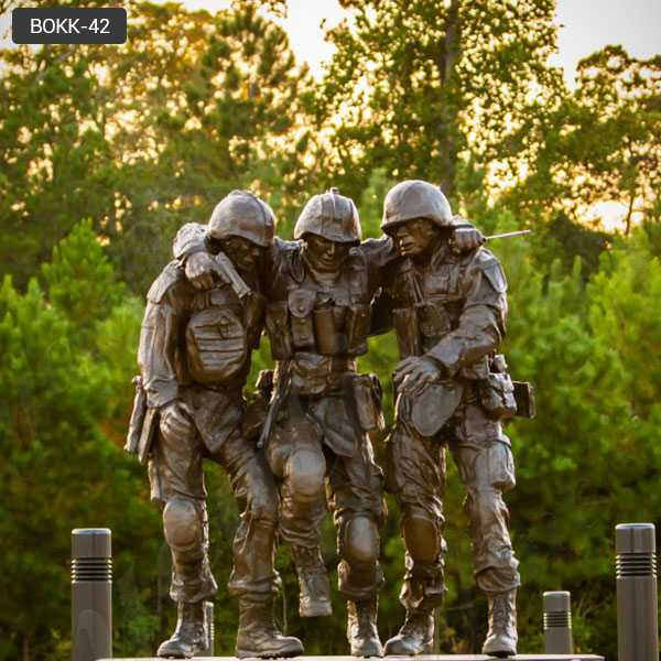 "Famous Bronze Memorial Military Statue ""No One Left Behind"" Statue Replica –BOKK-42"