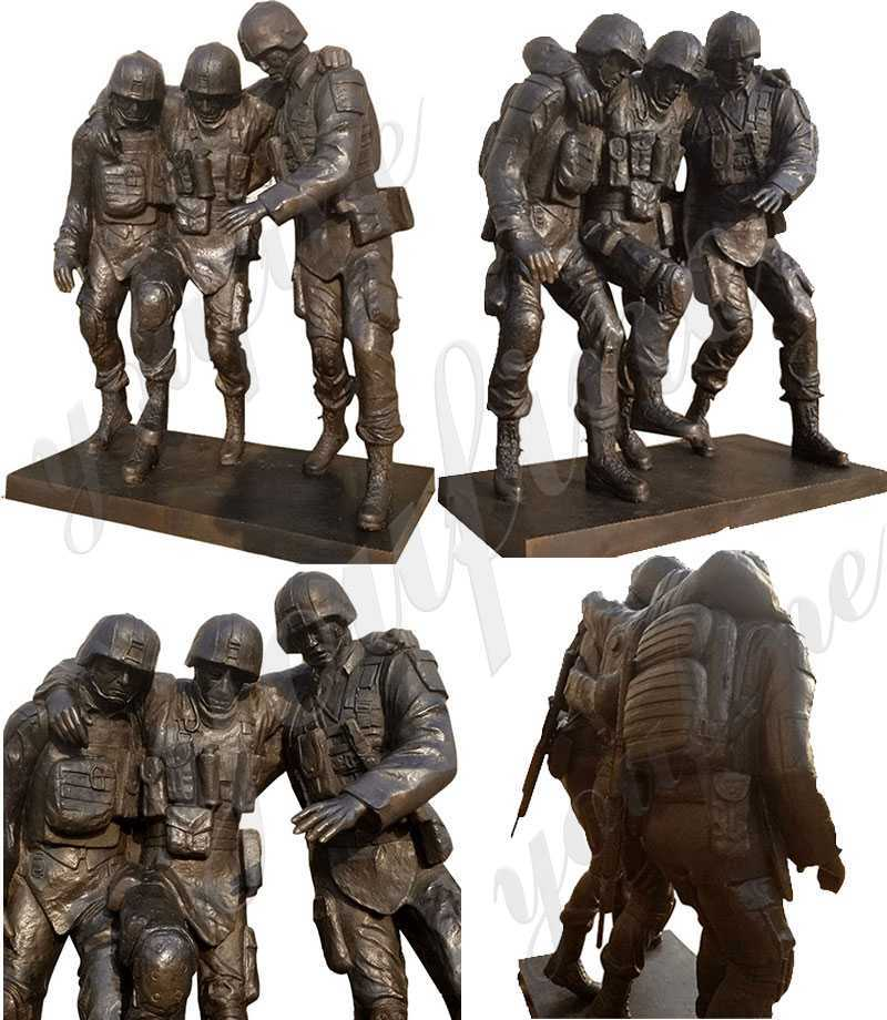 Famous Bronze Outdoor Military Statue No One Left Behind Statue Replica for Sale