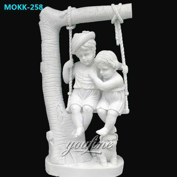 Indoor-art-decor-stone-white-marble-children-on-swing-sculptures-for-garden-decor