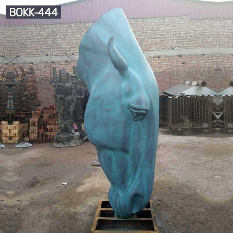 Large Antique Bronze Horse Head Sculpture