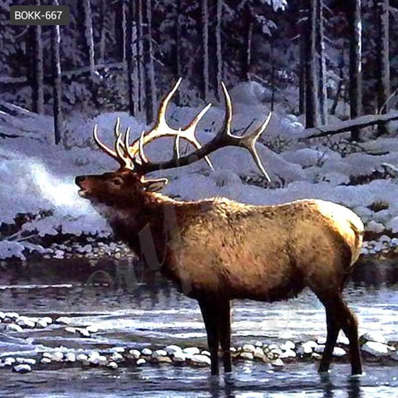 Large Bronze Elk Statue Outdoor Wildlife Animal Sculpture for Yard for Sale