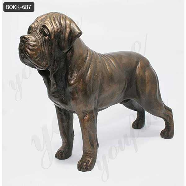 Life Size Antique Bronze American Bulldog Garden Statue for Sale BOKK-687