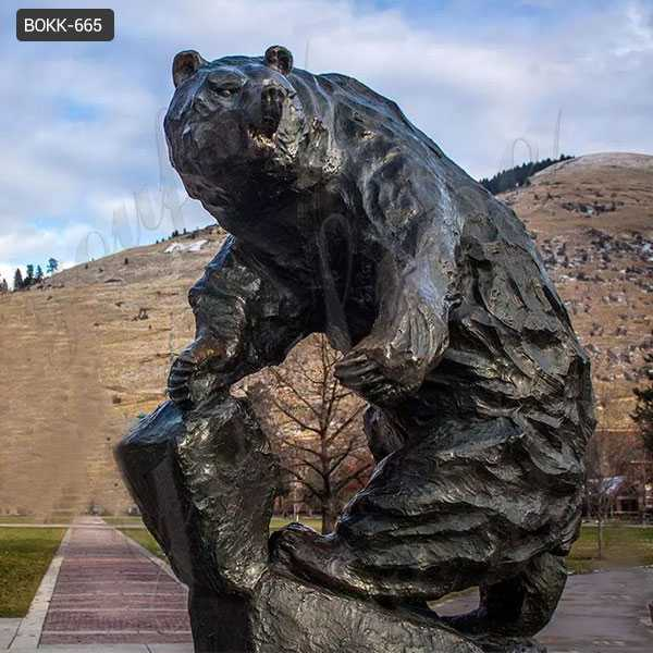 Life Size Bronze Grizzly Bear Statue for Garden Decor Bronze School Mascot for Sale BOKK-665