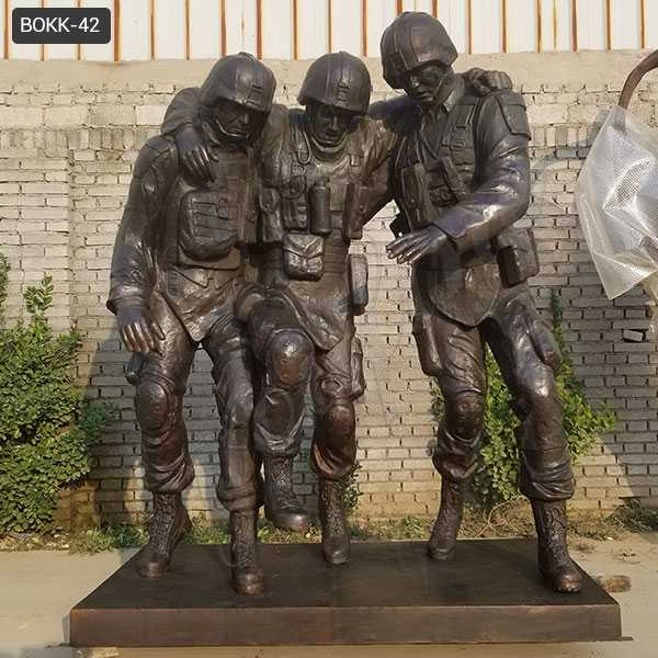 "Life Size Famous Bronze Outdoor Military Statue ""No One Left Behind""Statue Replica for Sale BOKK-42"