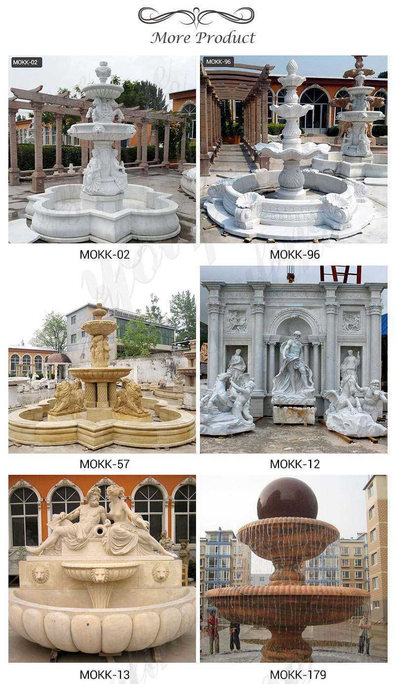 MOKK-174 Outdoor Tiered White Marble Water Fountain