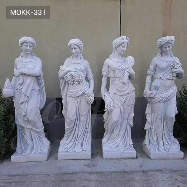 MOKK-331 Life Size the Four Goddesses of the Seasons Statues Hand Carved Pure White Marble Statue Design for Sale for Outdoor Decor