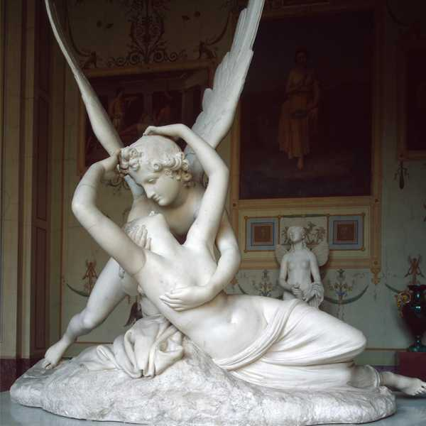MOKK-442 Life Size Famous Cupid and Psyche Sculpture Replica in White Marble Outdoor Decor for Sale