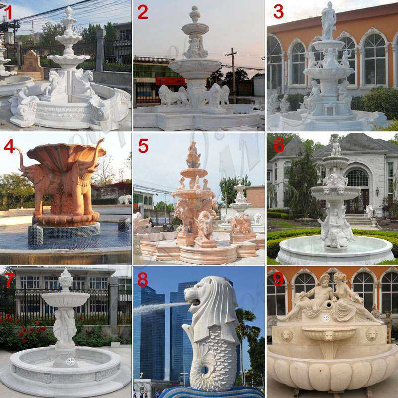 MOKK-84 white marble tiered water fountain with horse designs