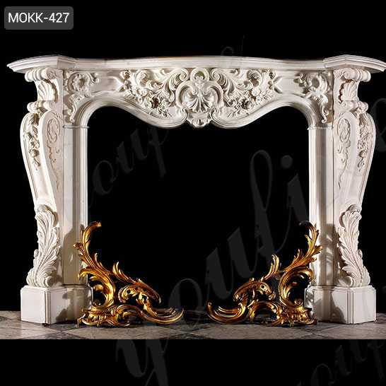 Marble French Fireplace Mantels with Floral Design for Home Decor for Sale MOKK-427