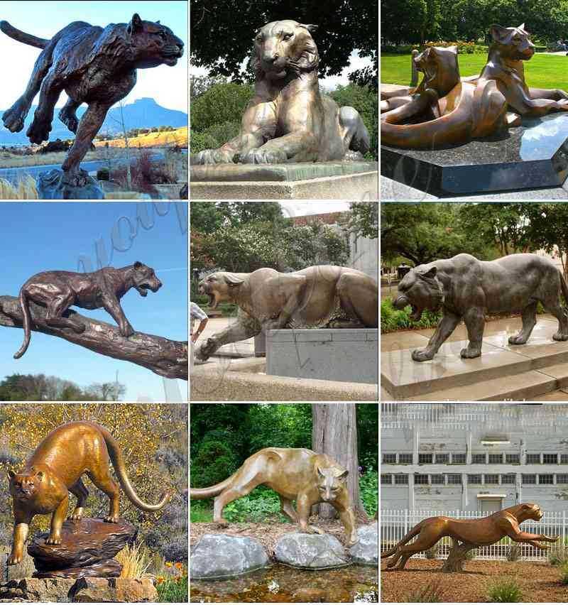 Metal Tiger Statue Custom Outdoor Bronze Mascot Sculpture
