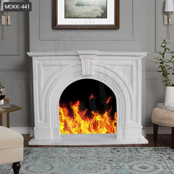 Modern White Marble Fireplace Mantel Surround for Home Decor for Sale MOKK-441