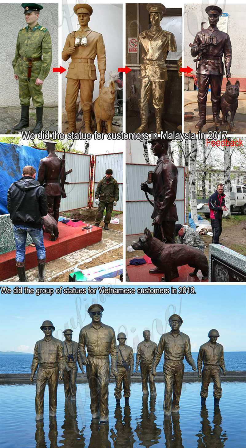 antique bronze military life size solider and dog statues designs