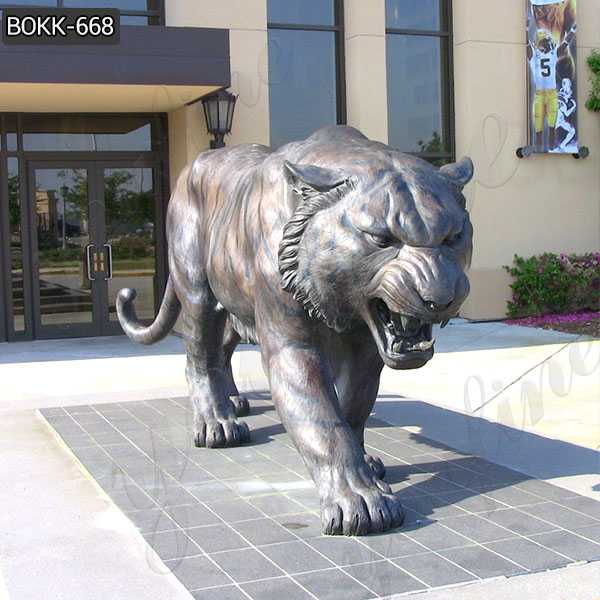 Life Size Metal Tiger Statue Custom Outdoor Bronze Mascot Sculpture for Sale–BOKK-668