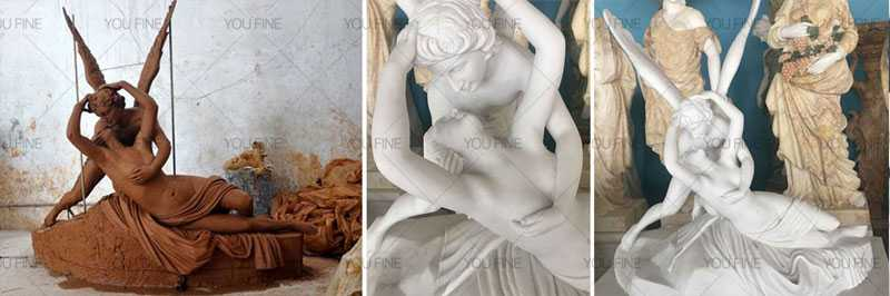 famous Psyche Kiss statue replica in white marble outdoor decor for sale