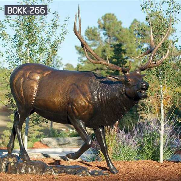 large antique bronze elk statue for sale