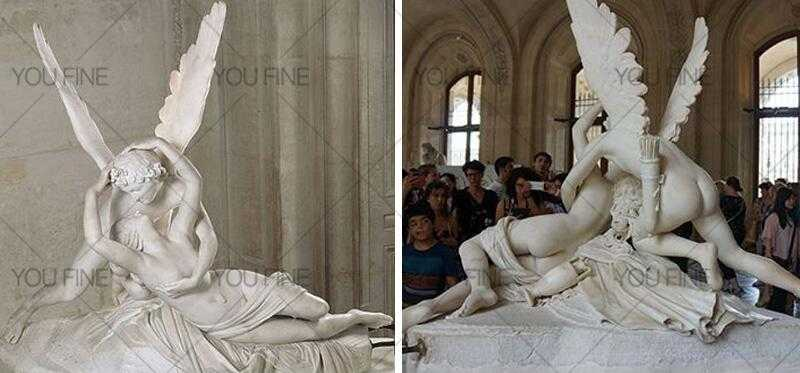 life size famous Psyche Kiss statue replica in white marble outdoor decor for sale