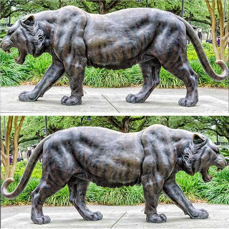 life size metal tiger statues outdoor bronze mascot sculpture for sale