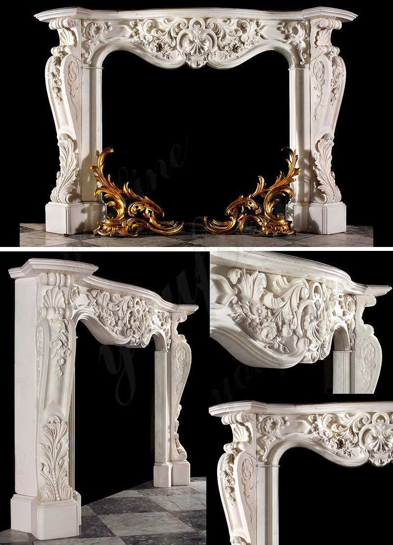 white antique marble fireplace mantels for sale
