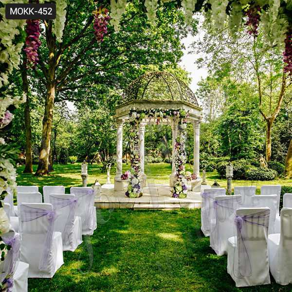 Hand Carved White Marble Gazebo for Wedding Ceremony for Sale MOKK-452