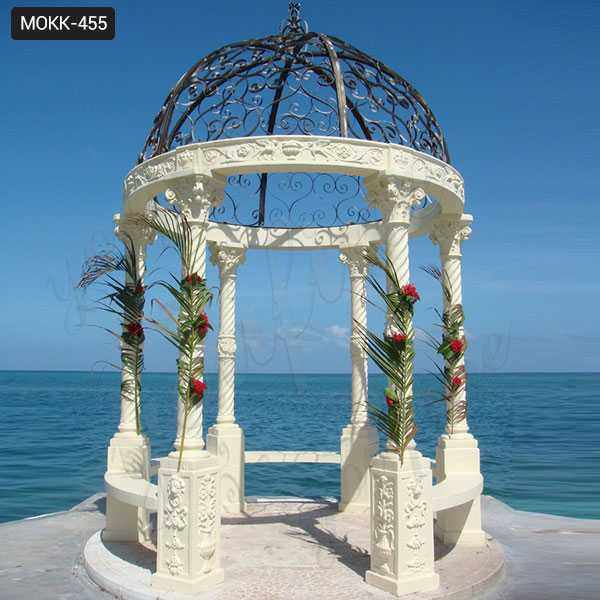 Large Cheap White Marble Outdoor Gazebo for Wedding Ceremony for Sale MOKK-455