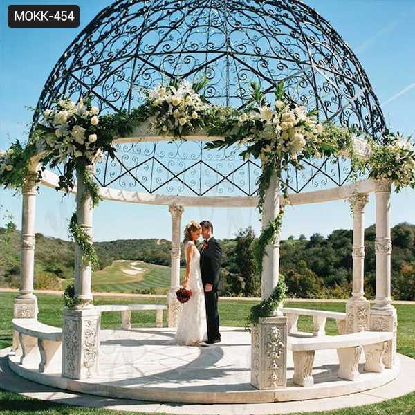 Large Outdoor Marble Column Gazebo for Wedding Ceremony Decoration for Sale MOKK-454