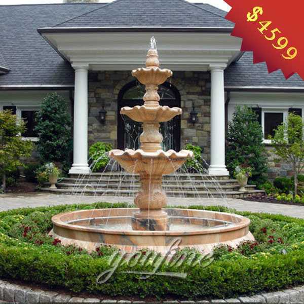 White Outdoor 3 Tiered Waterfall Garden Fountain Made of Marble for Front Yard for Sale MOKK-125