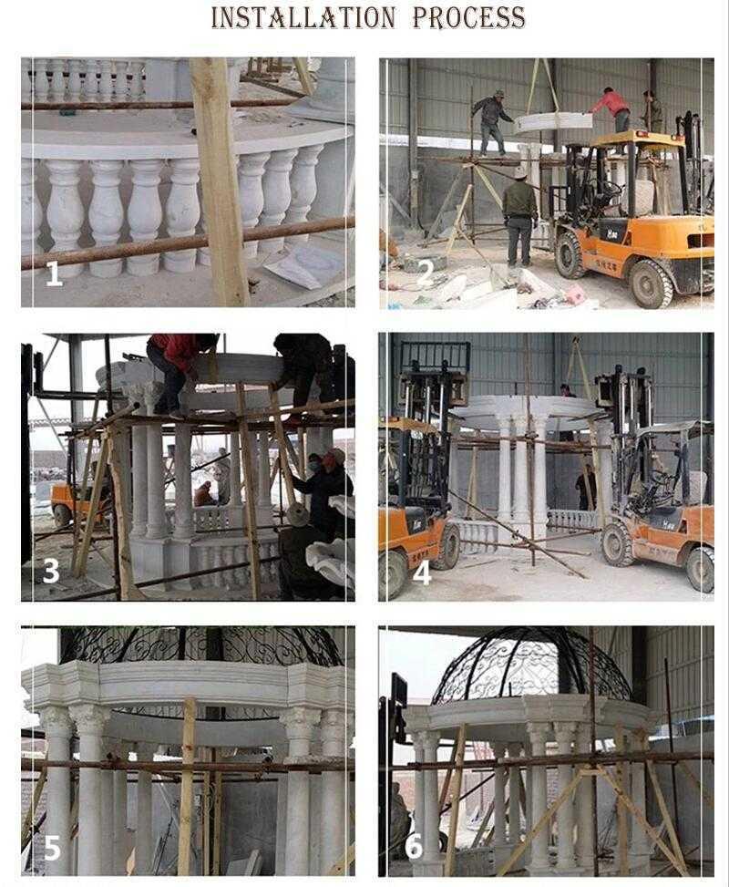 The Installation of white marble gazebo