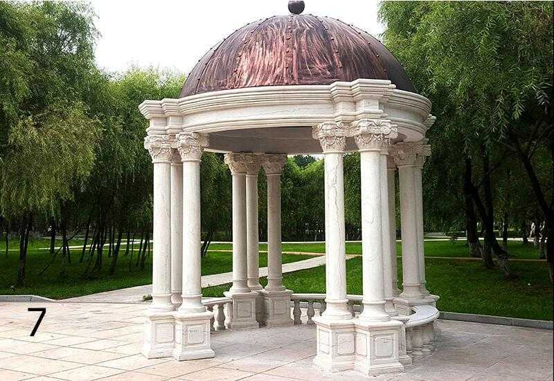 The Installation of white marble gazebos