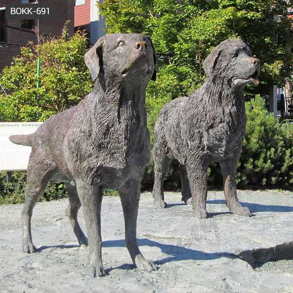 Life Size Antique Bronze Newfoundland Dog Garden Statue for Sale BOKK-691