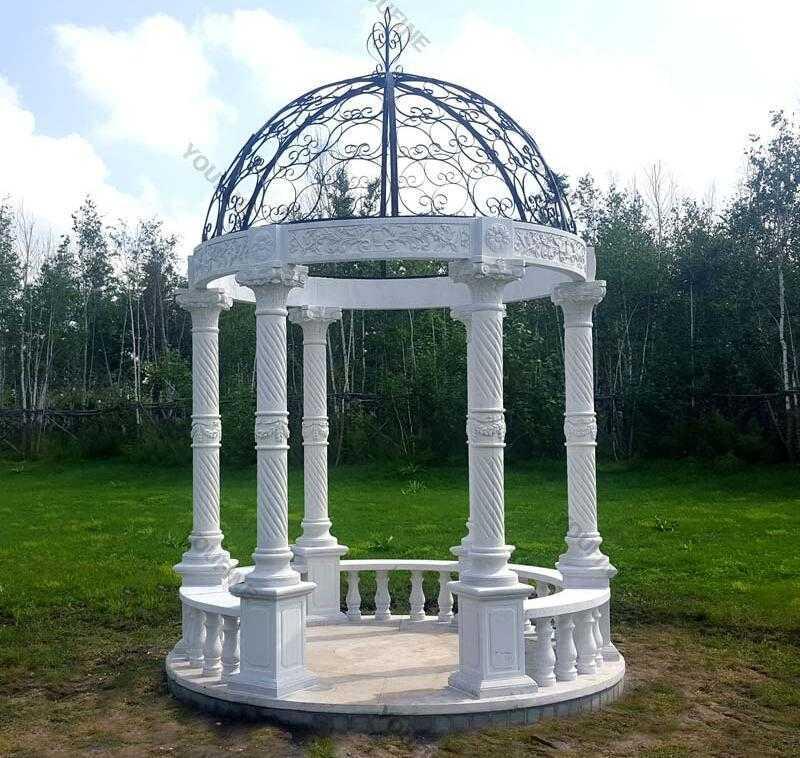 popular white marble gazebo design for garden decor for sale