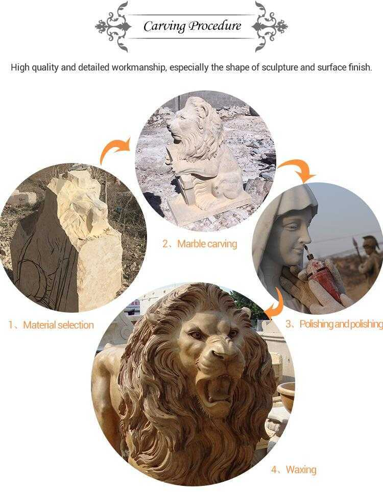 process of carving a marble lion statue