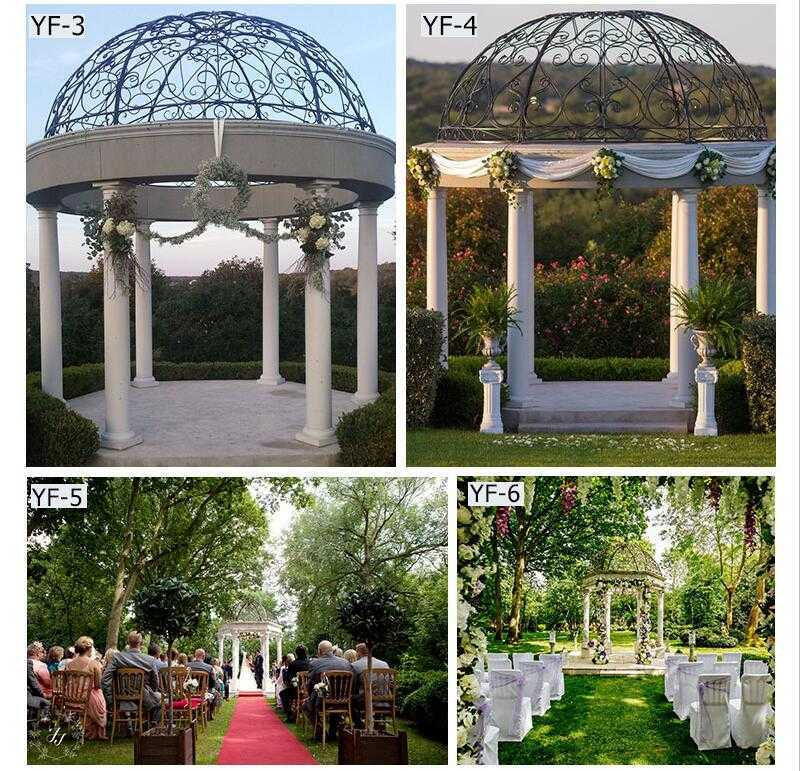 white marble gazebo for wedding ceremony