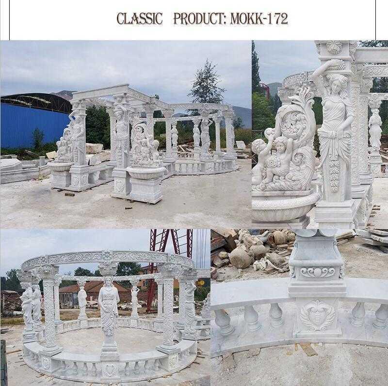 white outdoor marble gazebo