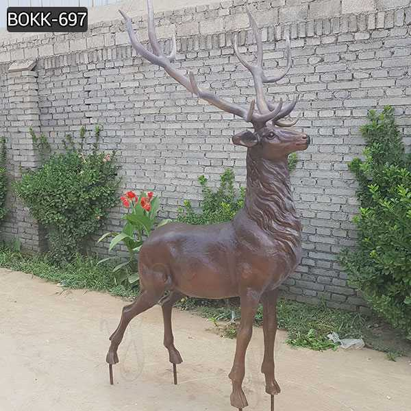 Life Size Antique Bronze Stag Garden Statue For Farm Decor for Sale BOKK-697