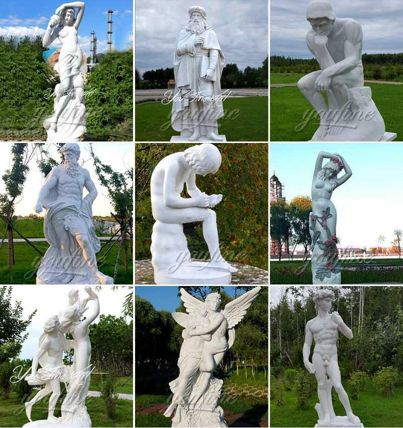 MOKK-80 Outdoor Garden Decoration Marble Atlas Statue