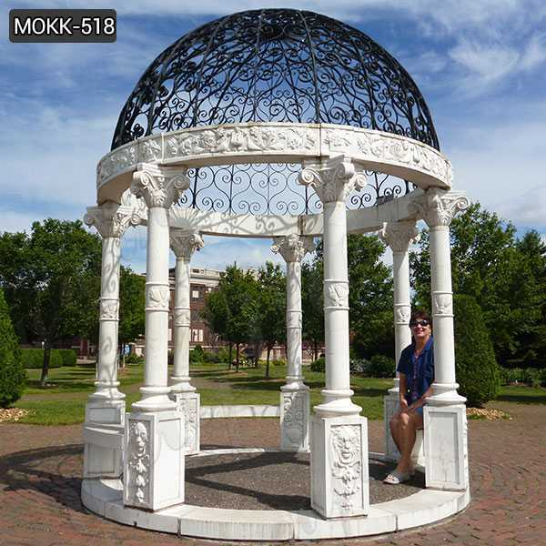 Modern White Marble Gazebo for Backyard Decoration for Sale MOKK-518