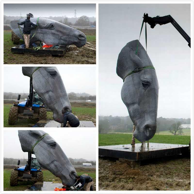 bronze horse head statue for lawn decor for sale America